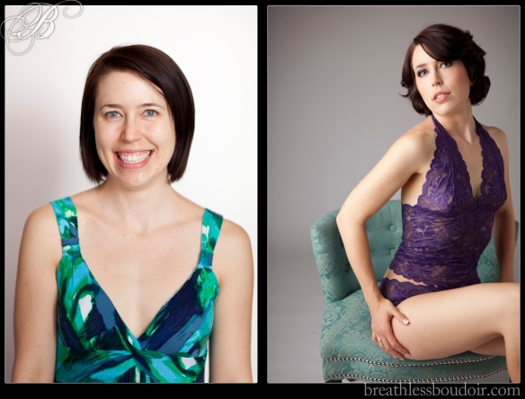 Before and after makeover transformation©2013 Breathless Boudoir